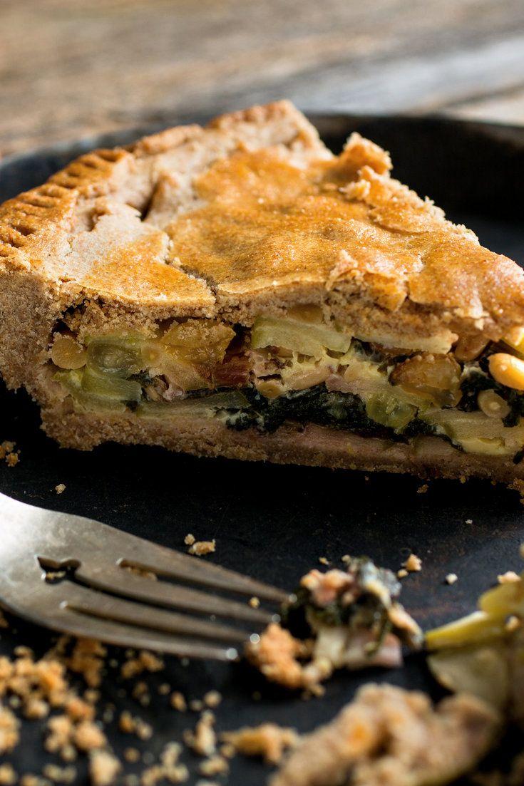 Swiss chard pie made with abundant chard, raisins, pine nuts, Parmesan ...