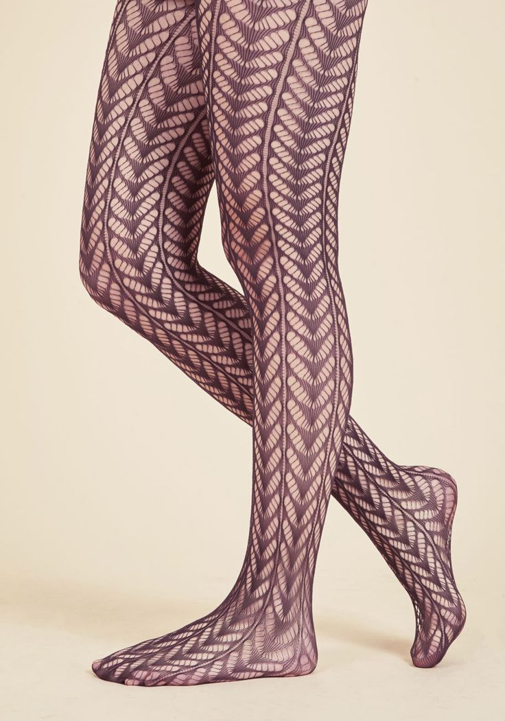 Motif Maven Tights. When it comes to pattern and texture, you're all over it with these sheer tights! #purple #modcloth