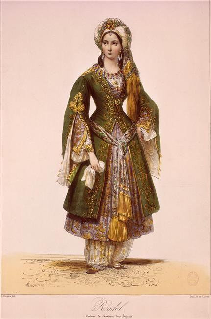 Là, on est vraiment dans le déguisement historique !!! trop de details flagrants ... mais qu'est ce que c'est beau :D  Rachel.  Roxane in Bajazet costume (19th century).  By Achille Deveria (1800-1857), Paris, Musee Carnavalet.