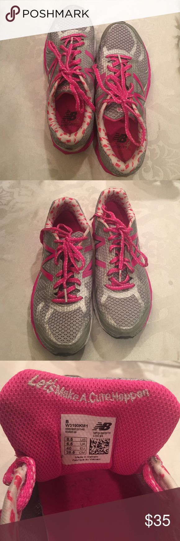 "New Balance RevLite 3190/ Size 8 1/2 B New Balance - Pink/ Gray / White Rev Lite 3190 sneakers / lightly worn /          Susan G Komen            ""Let's Make A Cure Happen!""     Size 8 1/2 B New Balance Shoes Athletic Shoes"