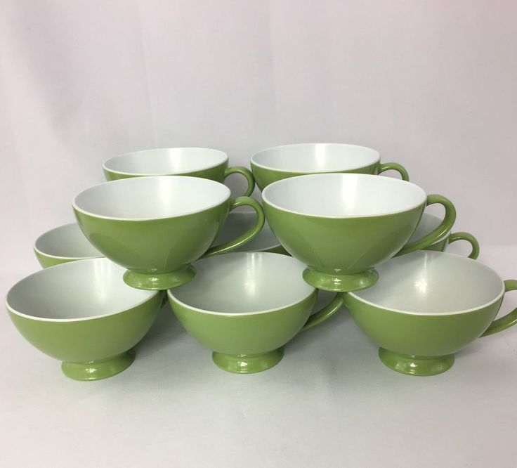 Lot of 10 Vintage Texas Ware Melmac Avocado Green Coffee Cups