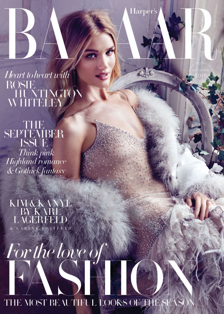 Rosie Huntington-Whiteley for Harper's Bazaar UK September 2016 by Alexi Lubomirski cover - Alexander McQueen