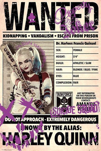 Póster Harley Quinn, Wanted. Escuadrón Suicida  Póster con la imagen de Harley Quinn Wanted, basada en la película Escuadrón Suicida.