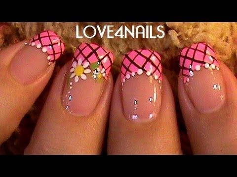 Pink Daisy Frenzy Nail Design - YouTube