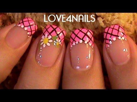 Pink Daisy Frenzy Nail Design - YouTube