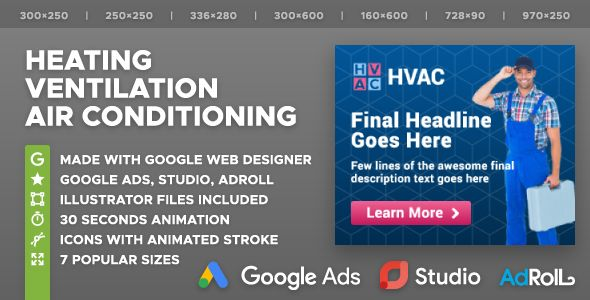Hvac Heating Ventilation Air Conditioning Company Html5 Banner Ad Templates Gwd Nulled Air Conditioning Companies Heating Hvac Hvac