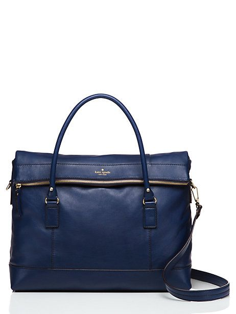 absolutely adore this dark blue kate spade travel bag - perfect for quick trips and it's 65% off