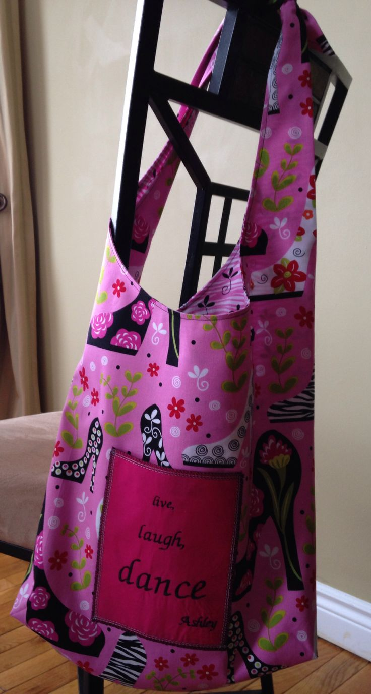 Custom embroidery available for all bags.  Ashley's dance bag; reversible, washable $20