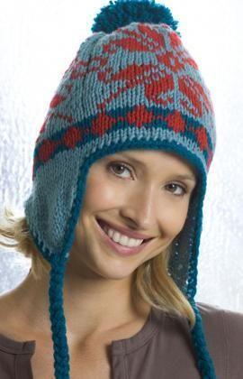 Ear Flap Hat Free Knitting Pattern from Red Heart Yarns