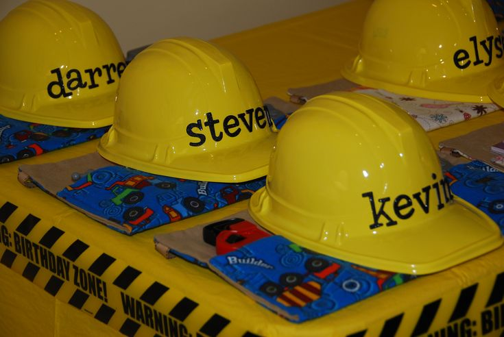 construction-birthday-party with homemade toolbelt favors and personalized hard hats