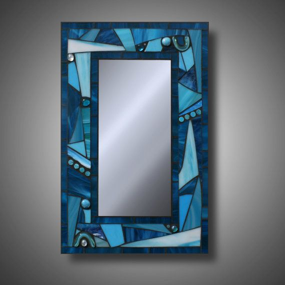 Funky Freestyle Turquoise Blue Stained Gl Mosaic Mirror 12 X 18
