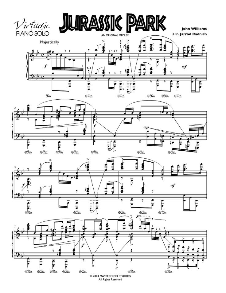 Jurassic Park - Virtuosic Piano Solo Sheet Music (at Musicnotes.com - scroll down for link)
