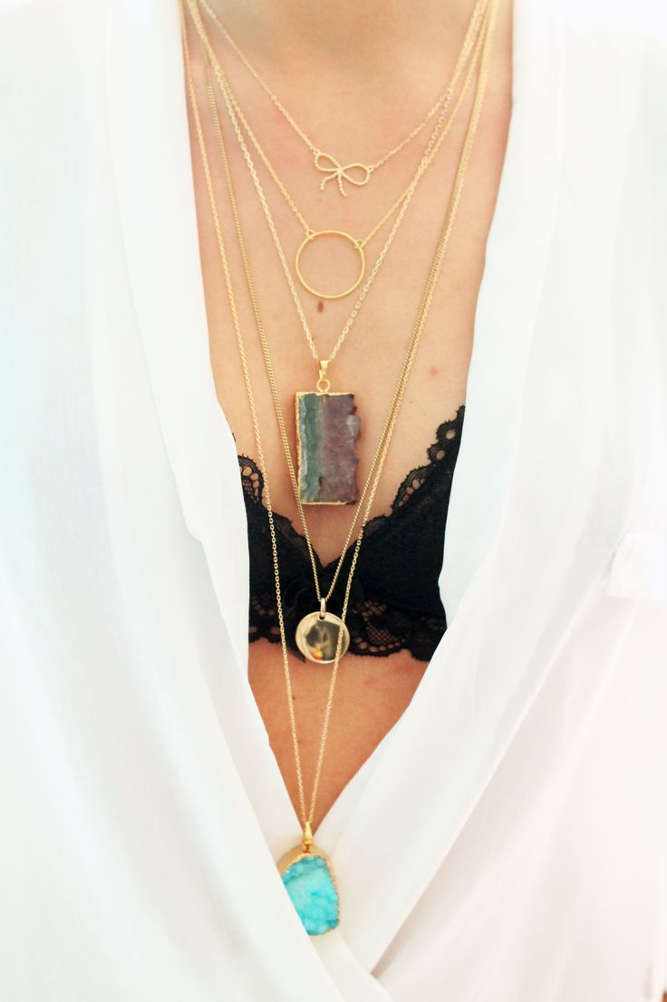 Inspiration collier sautoir pierre Améthyste médaille