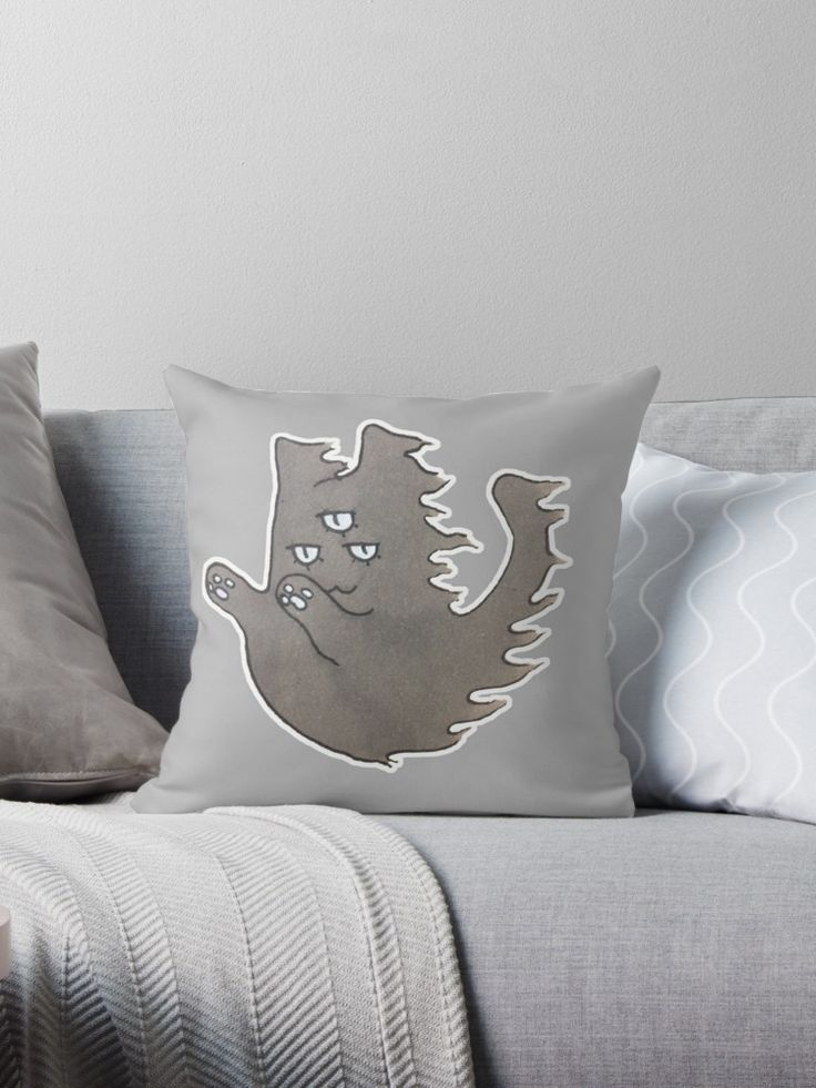 """""""Ghost Cat"""" Throw Pillows by ThreeEyedKat 