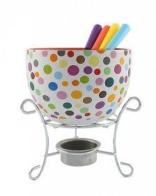 KAMILLE Ceramiczny zestaw do fondue dla 4 osób KROPKI