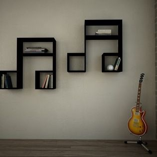 LaSiDo Bookcase - Wall Shelf Black - Decortie- houzz.com