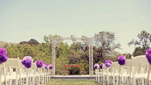 Pompones morados para bodas Foto vía: web
