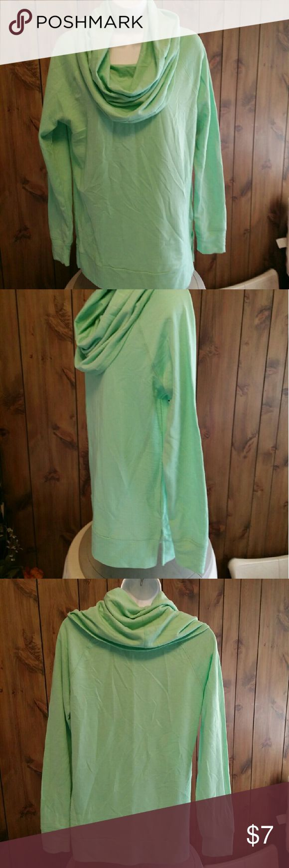 Mint green cowl top nwot Long sleeves, wide band on bottom with slits on both sides.  Very draped cowl neckline, cotton and polyester,  size med and new Red Camel Tops Tunics