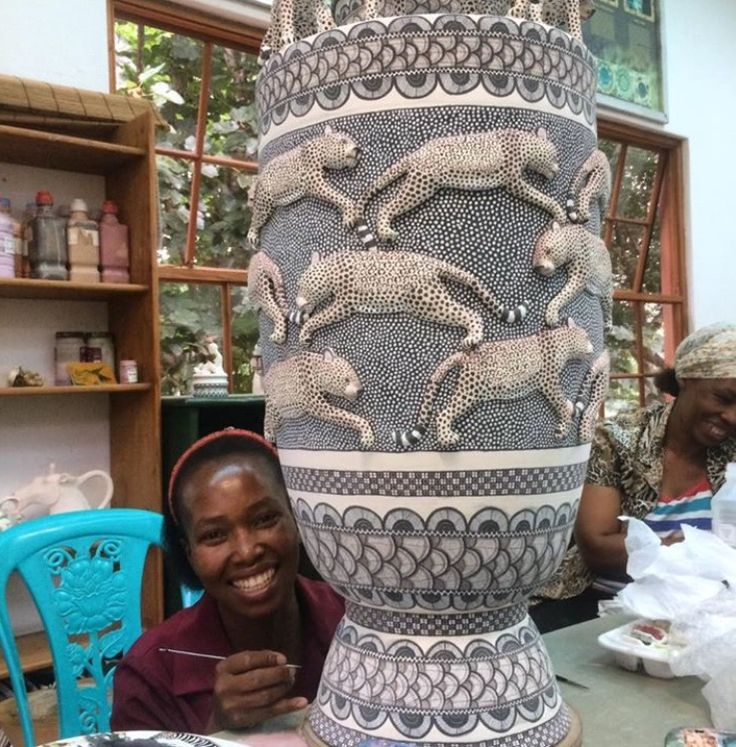 Jabu Nene adding her incredible, intricate patterns to this beautiful piece by Lovemore Sithole and Thabo Mbhele.