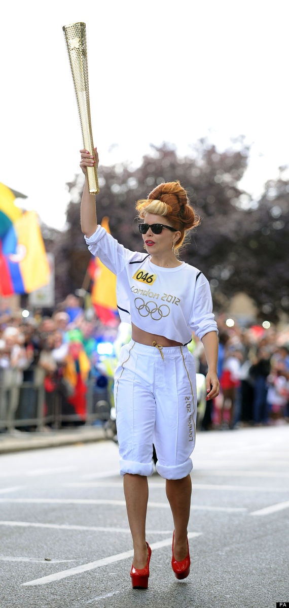 Olympics 2012 London - Paloma Faith is instantly iconic for running the Olympic torch relay in platform high heels!  Should be an Olympic sport :)