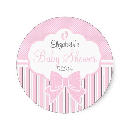 Pink dots and stripes baby shower classic round sticker