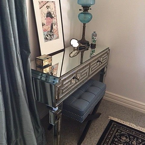 Our Teal Brooke Ottoman stool complementing our customers stunning dressing table #glam #goals #ottomans #stool #dressing #tablelamp #teal #interiorstyling #love #glamorous #home #styling #furniture #lovemyblackmango