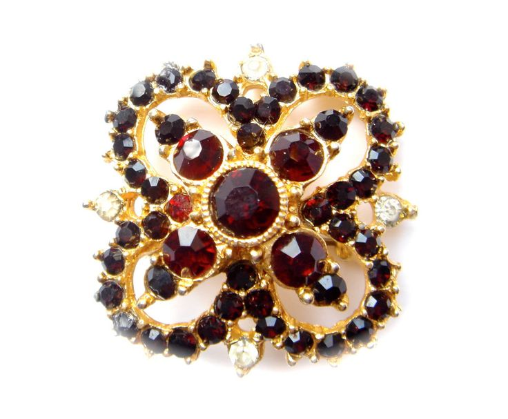 Antique Vintage Czech Glass Brooch Pin Gold Tone Red Clear Rhinestones Art Deco #Unbranded