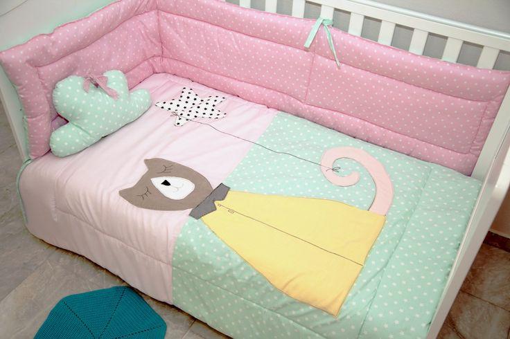 Baby quilts  Χειροποίητο Παιδικό Βρεφικό Πάπλωμα :Τένια η Γατένια