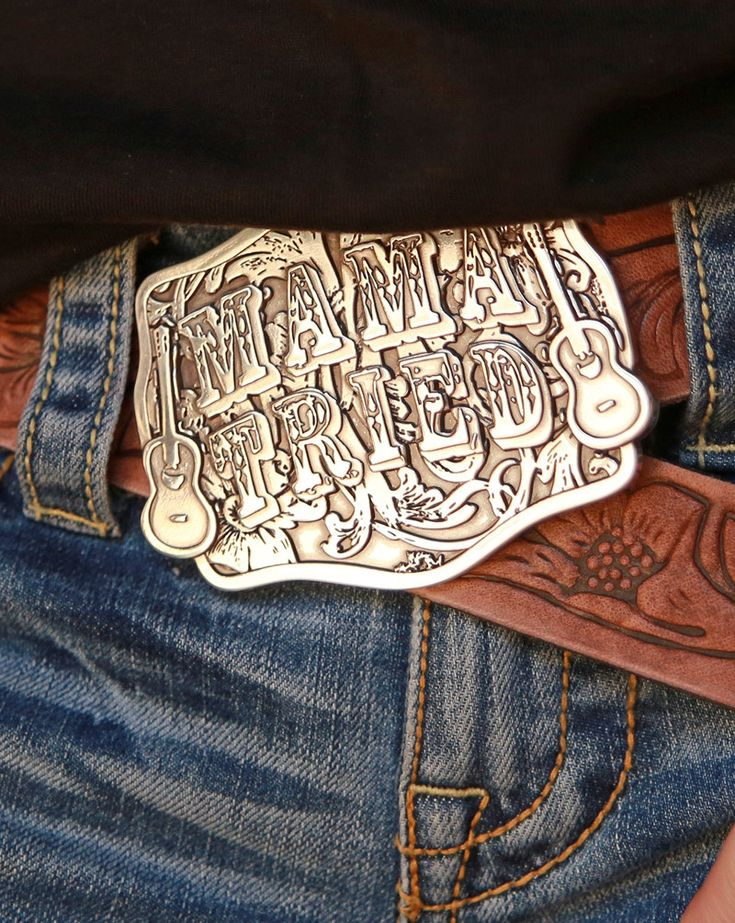 "MAMA tried Buckle - custom JG | OUR original MAMA TRIED design now on a CUstom -made JUNK GYPSY BuCKle!    heavy-weight silver-plate pewter. high-quality design. made to travel the highways, the biways and the BaCKROADS with You!!! OUR ode to MErle HAGGARD!!!! ""long live country music"" stamped on the back of the buckle. we are lovin it . . . .
