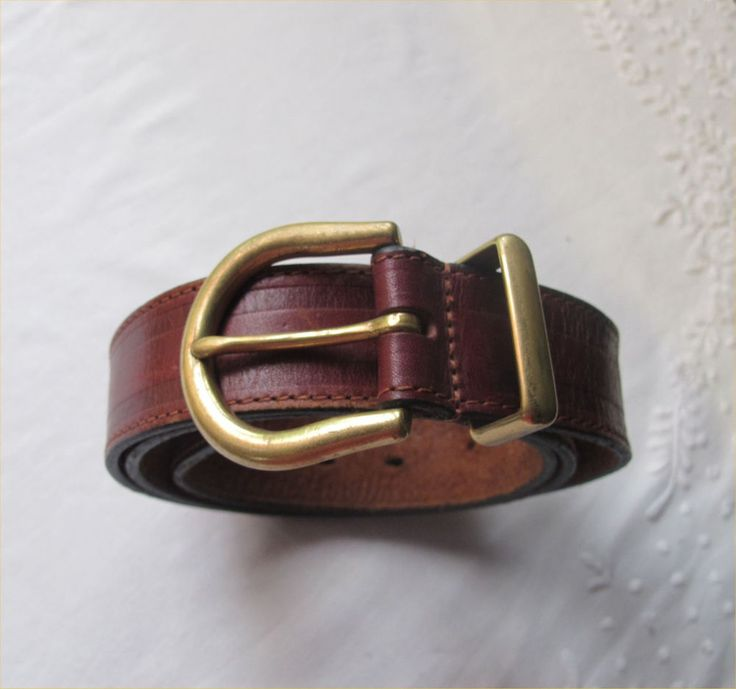 BELT Mens Brown Genuine LEATHER Brass Buckle Classic Sturdy Jean Vintage Hipster