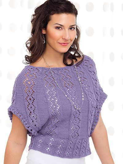 Creative Knitting Summer 2016 Hitting the Borderline -- Lavender Sails Design by Irina Poludnenko Lace panels form an elegant and feminine shape on this boatneck tee, which would be perfect for a day in the sun!