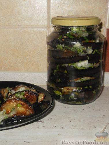 Фото приготовления рецепта: Жареные баклажаны с чесноком - шаг №9