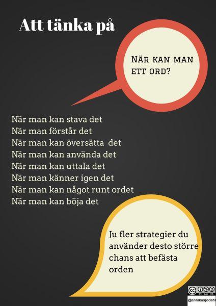 Gjorde i våras ett par bilder för strategier vid ord då jag har många nybörjar lever i både engelska och svenska. Dock finns det både snyggare sätt att göra bilderna i (läs Canva) och de blev inte …