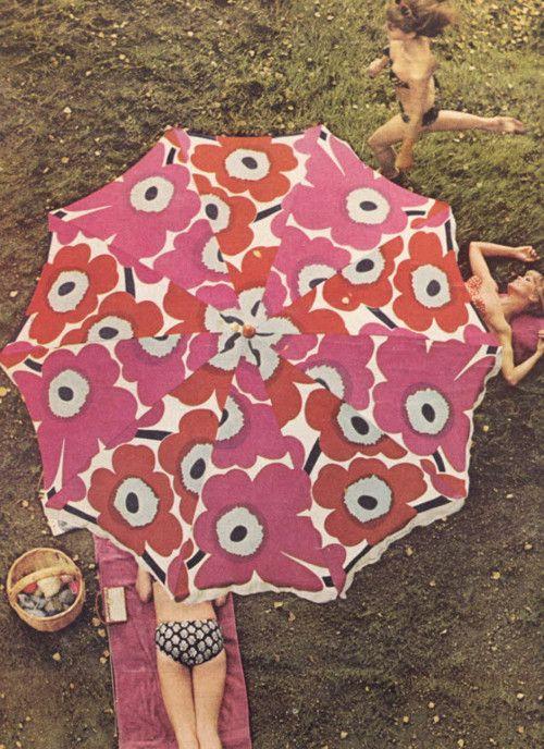 sunbathing in Marimekko style