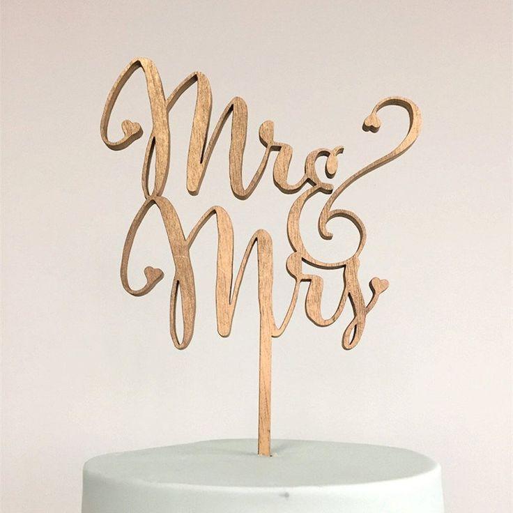 Wedding Cake Topper (Beautiful Wooden /Cursive/Rustic Theme /Mr & Mrs)
