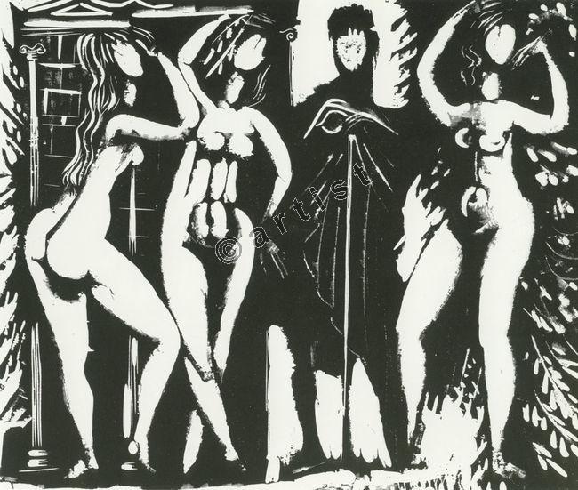 The judgement of Paris. Woodcut. 1957. Costas Grammatopoulos. Κώστας Γραμματόπουλος, Η εκλογή του Πάρη, 1957, ξυλογραφία, 41,7 x 30 εκ.