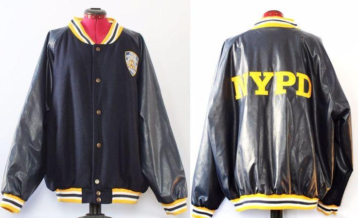 Mens NYPD Blue Police Jacket Coat Uniform Costume Varsity New York Police XL #Handmade #Uniform