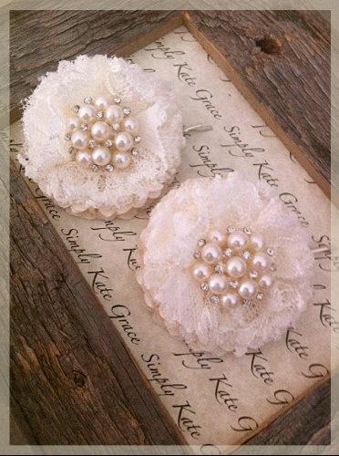 Vintage look lace flower bobby pins. @Sally McWilliam McWilliam Pine Lee Pisano