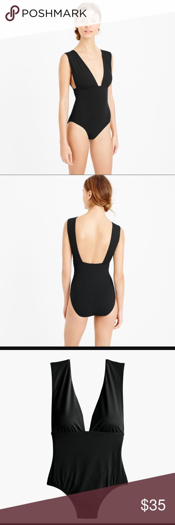 Jcrew plunging V swimsuit sz 10 EXCELLENT LIKE NEW condition. Worn ONCE. I love this swimsuit but it's too revealing for a busty woman. NOT recommended for larger bra sizes. Major side boob!!!! Unless you're just taking selfies and having drinks by the pool/beach. I'd change for jet skiing 🤷♀️😬😂😝 J. Crew Swim One Pieces