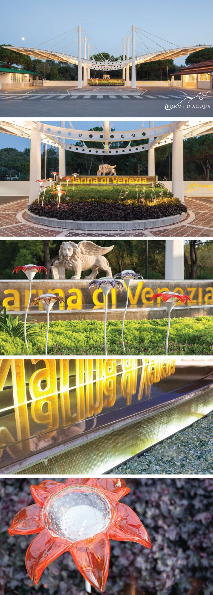 """Forme d'Acqua created the new entrance, """"The garden of wonders"""", which contains a glass and water garden designed by the architect S. M. Favrin. Marina di Venezia Campsite is one of the largest and most prestigious open-air holiday centres in Europe."""