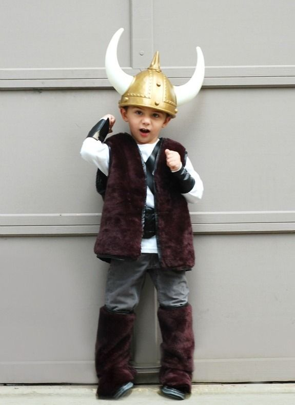 viking costume - boot and arm cuffs, large belt, fur vest, helmet, shield and sword