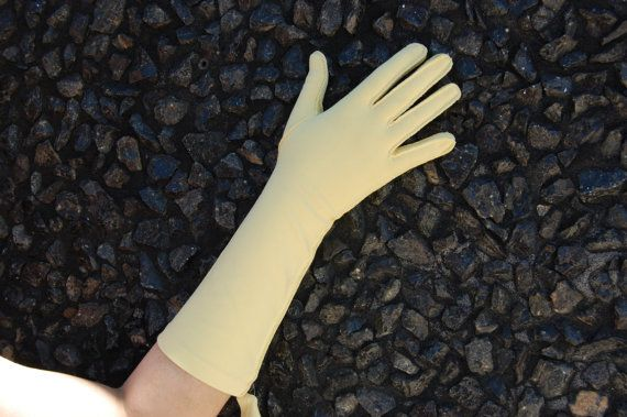 50s 60s XL Light Yellow Gloves by BuxomBabesVintage on Etsy