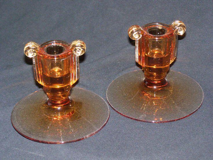 Vintage Glass Art Deco Candle Holder: Vintage Amber Candle Holders Art Deco Design 1960-1970s