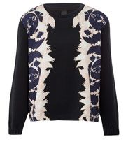 Mother of Pearl Navy Bailey Floral Panel Sweat