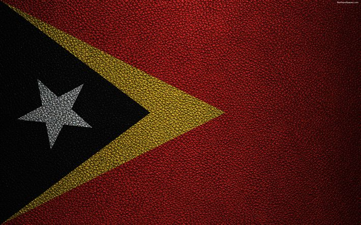 Download wallpapers Flag of East Timor, 4k, leather texture, Oceania, East Timor, flags of the world