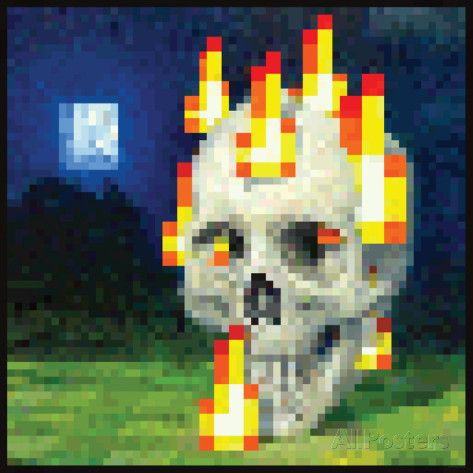 Minecraft Burning Skull Premium Video Game Poster Plakat