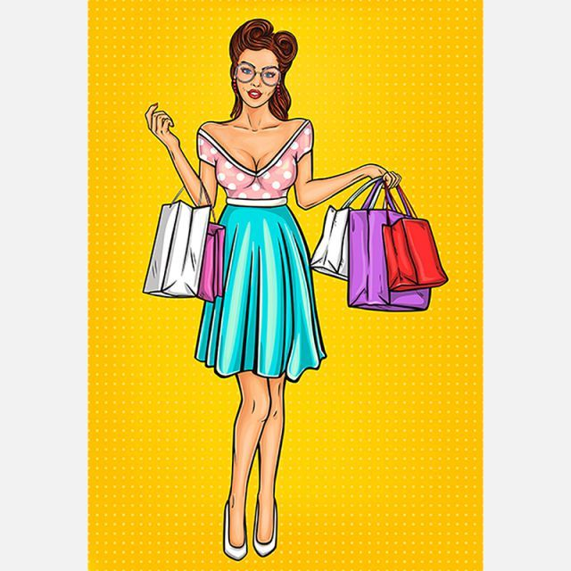 Vector Smiling Girl Shopper Shopping Woman Girl Png And Vector