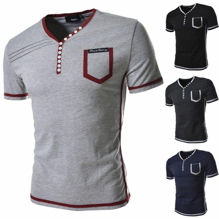 Mens Embellished Button Henley Neck Short Sleeved Tshirts Cotton Blend Tees DK36 #unbranded #EmbellishedTee