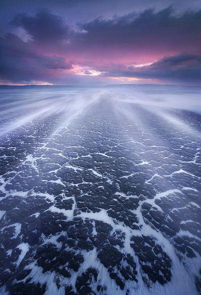 """WINTER WINDS"" SE Oregon desert.  Blowing snow on a frozen desert in eastern Oregon photographed at sunrise."