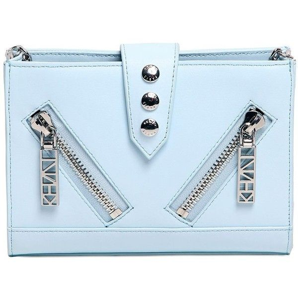 Kenzo Women Mini Kalifornia Smooth Leather Bag (€290) ❤ liked on Polyvore featuring bags, handbags, shoulder bags, clutches, light blue, light blue shoulder bag, blue studded handbag, blue handbags, blue shoulder bag and chain strap purse